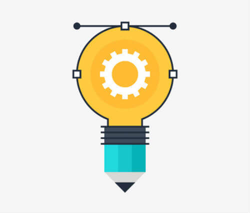 a vector image of a light bulb and a pencil suggesting creative writing