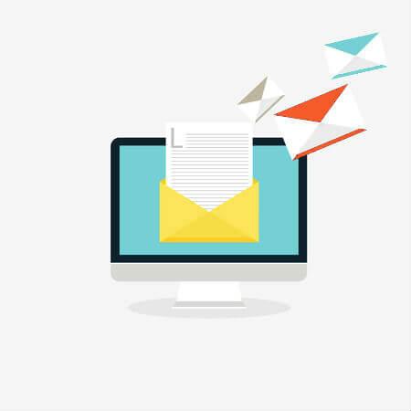 an image of a desktop computer sending emails