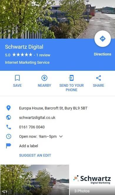 Schwartz Digital GMB listing